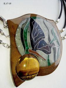 Шкіряний кулон Дерев'яний кулон з натуральним каменем