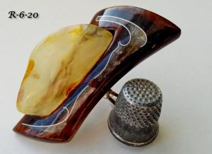 Кольца ручной работы Перстень с янтарем