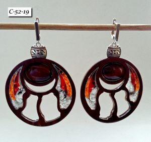 Сережки ручної роботи Сережки дерев'яні в формі кола