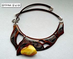Украшения из янтаря в золоте Ожерелье-колье-гривна из американского ореха