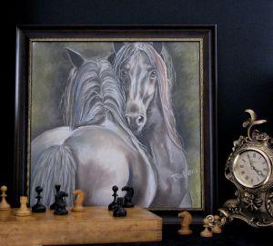 Картины графика Пара лошадей