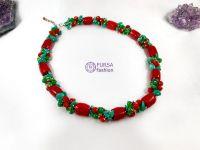 """Эксклюзивное ожерелье """"Зеленый танец"""" 49 см"""