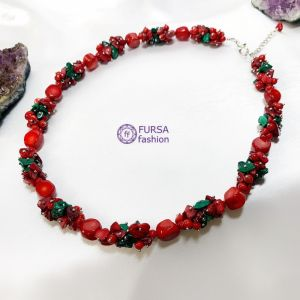 Ожерелья и колье ручной работы Эксклюзивное ожерелье Коралл + Малахит 53 см