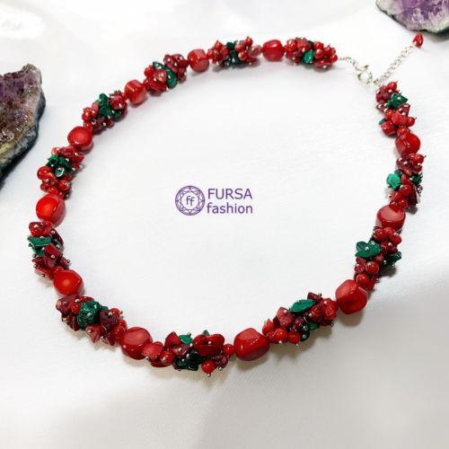 Эксклюзивное ожерелье Коралл + Малахит 53 см