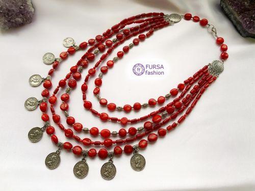 """Эксклюзивное ожерелье """"Коралловое приданое 3"""""""