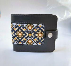 Кошельки ручной работы Мужской кожаный портмоне с орнаментом