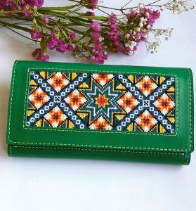 Аксессуары ручной работы Кожаный женский кошелёк с орнаментом