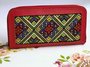Аксессуары ручной работы Красный кожаный кошелёк с орнаментом