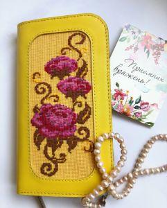 Кошельки ручной работы Желтый кожаный кошелёк с вышивкой