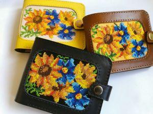 Аксессуары ручной работы Кожаный женский кошелёк «Цветок солнца»