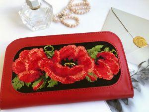 Кошельки ручной работы Красный кожаный кошелёк «Маки»
