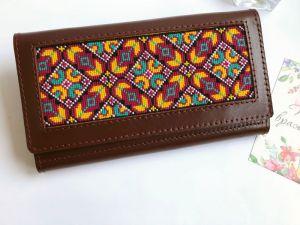 Аксессуары ручной работы Кожаный кошелёк бордового цвета
