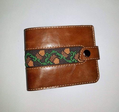 Мужской кошелек коричневый на кнопке