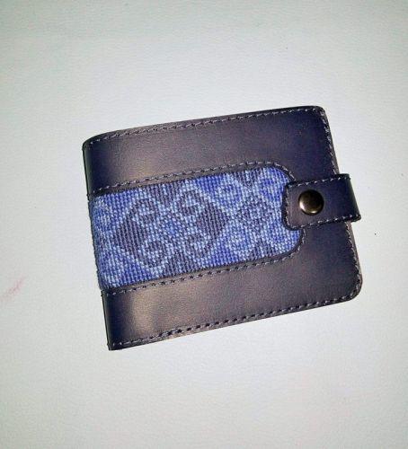 Мужской портмоне темно-синего цвета на кнопке