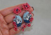 Серьги длинные вышитые цветы лебеди голубые розовые