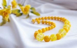 """Ожерелье из оникса Бусы желтые из оникса """"Мармеладки"""""""