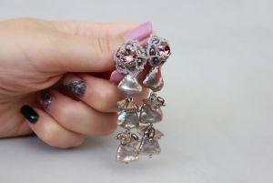 Швайковська Оксана Сережки довгі натуральні перли кристали