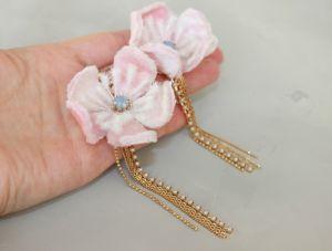 Серьги с розовым камнем Длинные вечерние розовые цветочные серьги