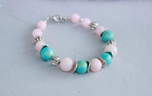 Розовый браслет Браслет из натуральных камней