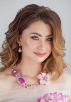 """Розовое колье из агата """"Аленький цветочек"""""""