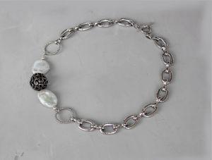 Ожерелья и колье ручной работы Чокер бусы с цепями металлический и жемчугом