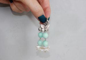 Швайковська Оксана Довгі сережки метелики із перлів і натуральних каменів