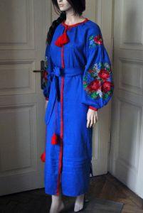 Стильное вышитое женское платье синего цвета - бохо платье для женщин - вышитое макси платье