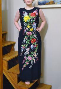 Вышиванки женские Стильная вышитая макси платье ручной работы