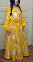 Шикарное вышитое женское платье - желтое женское макси платье под заказ