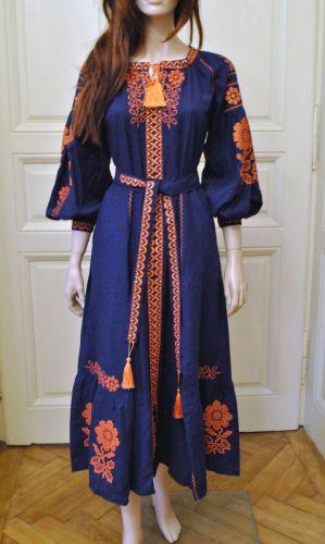 Стильное женское бохо платье на синем льне с оранжевыми цветами