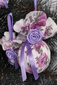 Разное Набор из 6 шаров на елку в стиле Прованс Елочные шары ручной работы Новогодние шары