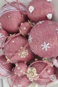 Разное Шары на елку набор из 13 шт Розовые шары на елку