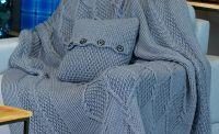 Комплект: красивий плед ручної роботи, р-р 160х200см + декоративна в'язана подушка 40х40см