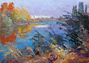"""Картины маслом """"Осень на реке"""""""