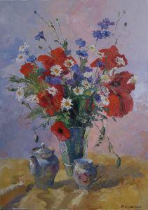 """Картины маслом """"Полевые цветы"""""""
