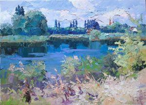 """Картины маслом """"Около реки"""""""