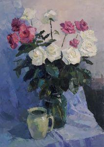 """Картины маслом """"Розы на голубом"""""""