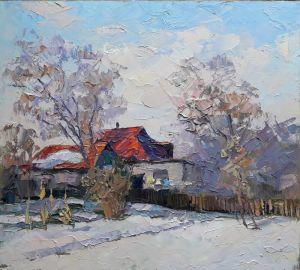 """Мальовані картини """"Будинок з червоним дахом"""""""