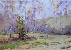 """Нарисованные картины """"Весенний лес"""""""