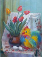 Натюрморт с петушком и тюльпанами