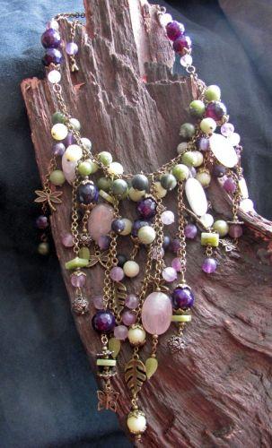 """Ожерелье в стиле бохо """"Черничная поляна"""" - изображение 1"""
