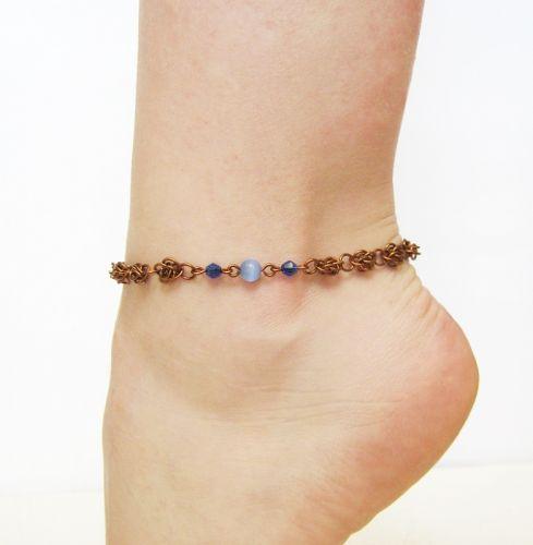 Медный браслет цепочка на ногу