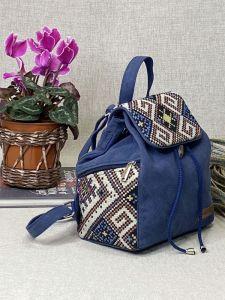 Рюкзак ручной работы Рюкзак средний синий с декором орнамент