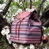 Большлой рюкзак с гобелена и эко кожи