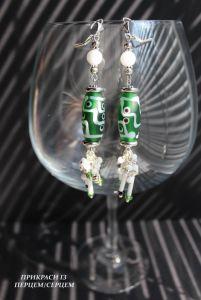 Cережки з зеленим каменем Сережки 02