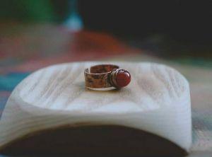 Кольца ручной работы Колечко с оранжевым сердоликом
