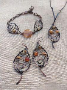 Творческая мастерская Рыбка Осенний набор (серьги, подвеска и браслет)