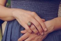 Кольцо с зеленым ониксом