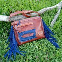 Кожаная сумка « Blue rain»