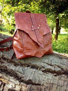 Рюкзак ручной работы Кожаный рюкзак «Fiery»